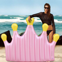INS style pink crown swim ring adult queen cartoon crown summer beach swimming floating party water fun