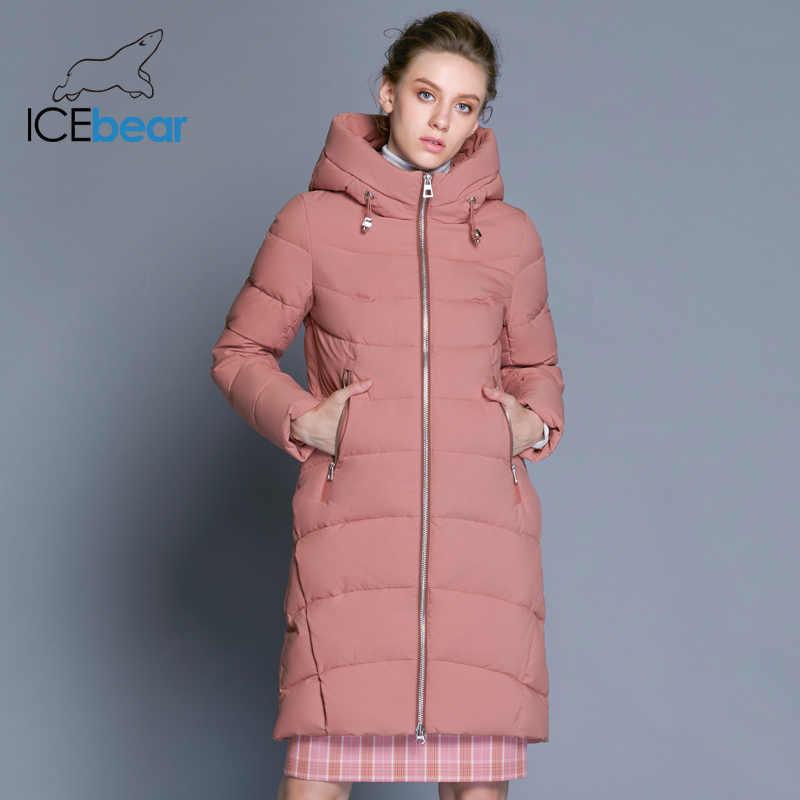 ICEbear 2019 nowy wysokiej jakości płaszcz zimowy kobiety z kapturem kurtka wiatroszczelna długa odzież damska wysokiej jakości metalowy zamek błyskawiczny GWD18101D