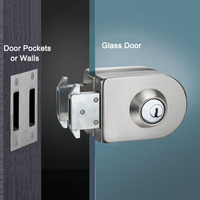 Frameless glass door lock single door double unlock stainless steel office door lock with 3pcs keys KF1077