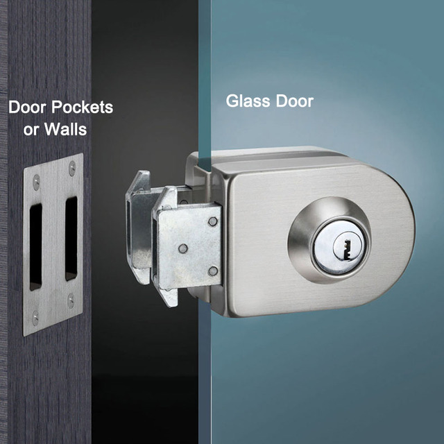 Frameless Glass Door Lock Single Double Unlock Stainless Steel Office With 3pcs Keys