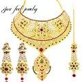 Nueva moda india superior de diseño de la joyería para las mujeres chapado en oro flor ahuecado pendiente y headwear collar llamativo crystal choker