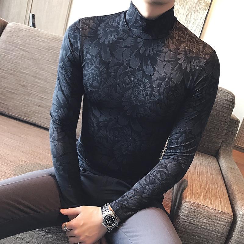 2017 autumn British gentleman bottoming shirt mens semi-high collar sweater Korean Slim compassionate mens sexy tight t-shirt