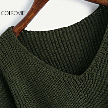 COLROVIE Twist Front Chunky V Neck Sweater