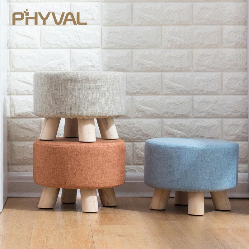 Modern Luxury Upholstered Footstool Nordic Round Pouffe Stool Wooden Leg Pattern Round Fabric 4 Legs