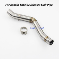 Stainless Steel Motorcycle Exhaust Muffler Pipe round 51mm Modified Middle Connection Link Pipe Slip On For Benelli TRK502