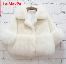 NEW FASHION CHILDREN WINTER COAT GIRL FAUX MINK FUR COAT FOX FUR COAT THICK WARM OVERCOAT