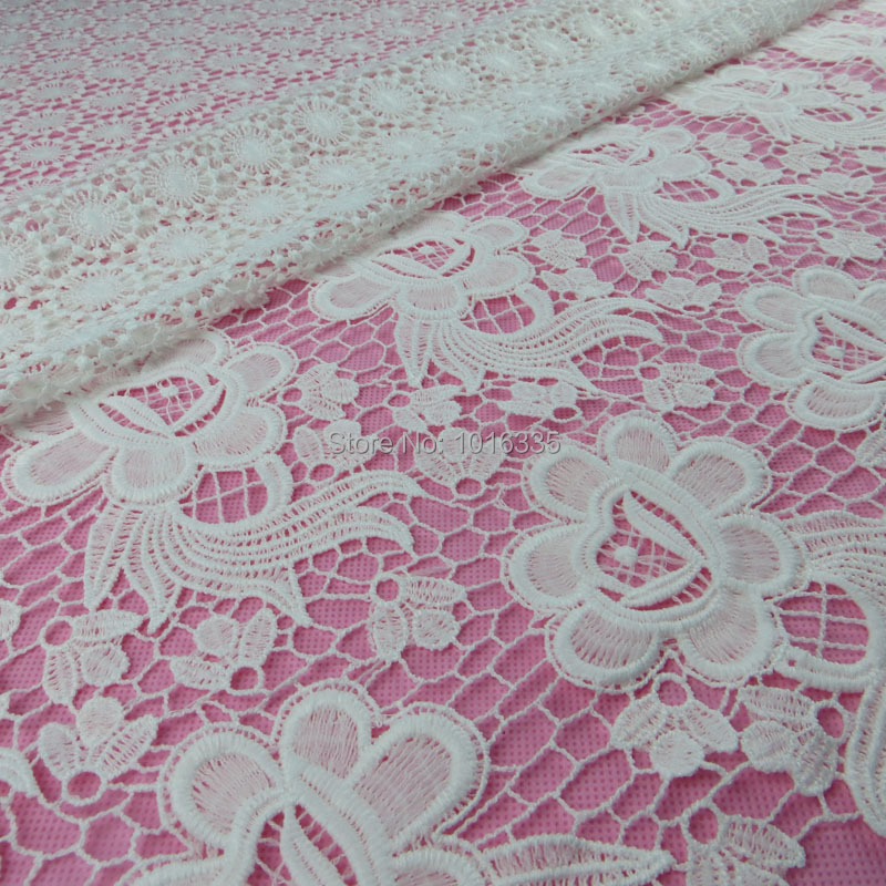 Buy 50pairs mirror white embroidery flower floral lace for Wedding dress fabric stores