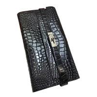 Women Alligator Leather Wallets Crocodile Purse Female Card Holder Luxury Money Dollar Bag Female Black Long Walet Girl Wristlet