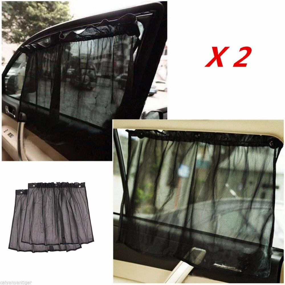 Car interior curtains - 2 Pcs Set Car Interior Covers Window Sunshade Curtain Black Side Rear Window Mesh Visor