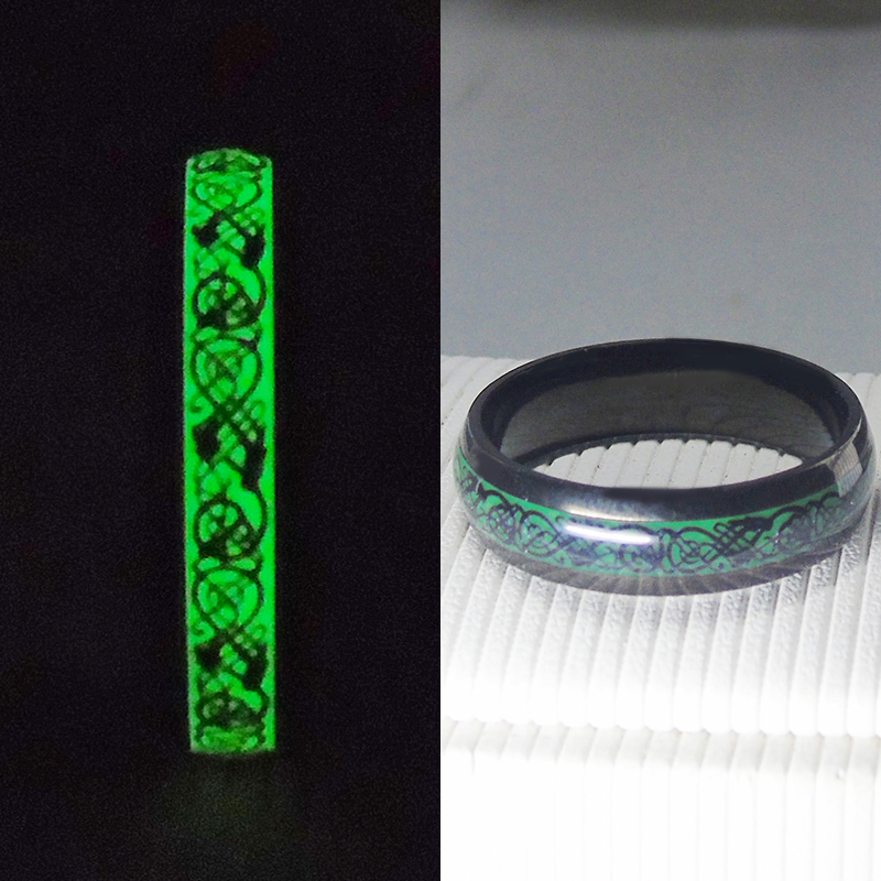 Unique Original Luminous Ring Glow In The Dark Black Dragon Inlay Green Background 6mm Women Rings Fashion Party Bar Free Box fashion glow in the dark protective frosted plastic back case for iphone 5 5s green