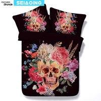 Sucre crâne lit draps 3d peinture à l'huile indien style fleurs couette couverture reine jumeaux literie ensembles 3/4 pc pleine roi tailles 500tc