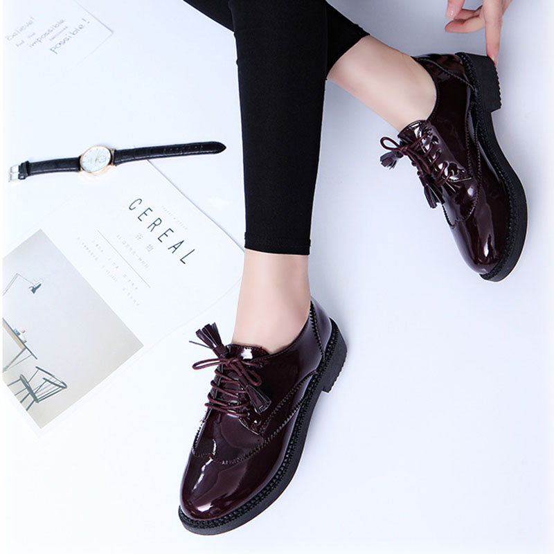 CPI Women Flats British Style Oxford Shoes Women Spring Soft Leather Casual Shoes Retro Tassel Lace Up Women flat Shoes YJ-85 beffery spring patent leather oxford shoes women flats pointed toe casual shoes lace up soft leather womens shoes retro brogues