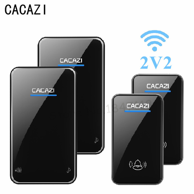 CACAZI New 200M Long Range Wireless Waterproof Doorbell EU UK US Plug Cordless Smart Door Bell 2 Push Buttons 2 Receiver AC220 door bell with 36 chimes single receiver waterproof plug in type wireless doorbell cordless smart door bells doorbells