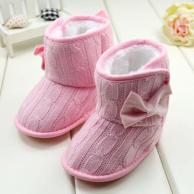 Zapatos de bebé Recién Nacido Bebé de Invierno Las Niñas de Lana de Punto Arco Zapatos de Bebé de Invierno Botas WMC092