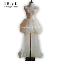 Bling Bridal Gowns Lace Tea Length Wedding Dress Short Front Long Back Summer Style Two Piece