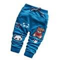 Nuevo 2016 del algodón del bebé niños pantalones ocasionales de moda lindo oso de dibujos animados bebé pantalones del todo fósforo pantalones deportivos para niños 7-24 meses
