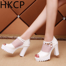 HKCP 2019 summer new high-heeled fish mouth thick with sandals womens wild casual thick-soled C208