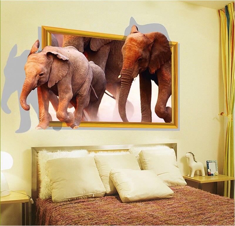 Fundecor Diy Home Decor Running Elephant Fake Window 3d