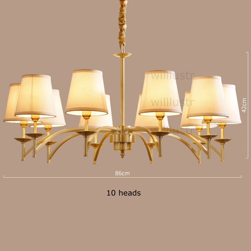 Willlustr copper pendant lamp fabric shade Chandelier modern suspension lighting american country bronze brass hanging light willlustr fabric wall lamp beige cloth light europe bronze lighting fixture bedside claridge double sconce with linen shade