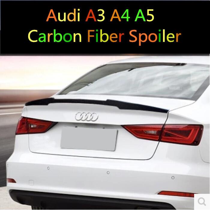 Carbon Fiber REAR TRUNK LID AERO WING SPOILER FOR Audi A3 S3 A4 B8 B9 A5 2DOOR 4DOOR by EMS for audi a4 b8 carbon rear spolier m4 style carbon fiber rear spoiler rear trunk wing for audi a4 b8 spoiler 2009 2010 2011 2012