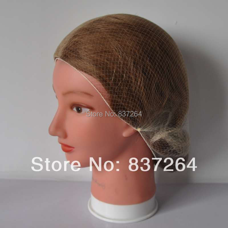 whole sale 5mm disposible nylon hairnets invisible disposable hair net 20inch blonde color beard cover