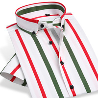 Men S Short Sleeve Contrast Striped Dress Shirts Brand Smart Casual Comfortable Breathable Thin Slim Fit