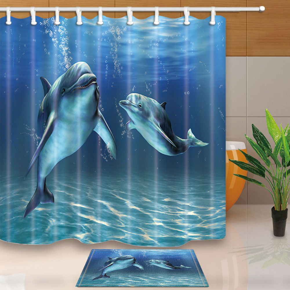 Warm Tour Two Dolphins Shower Curtain Sets Bedroom Decor Waterproof Fabric  U0026 12 Hooks WTS009(
