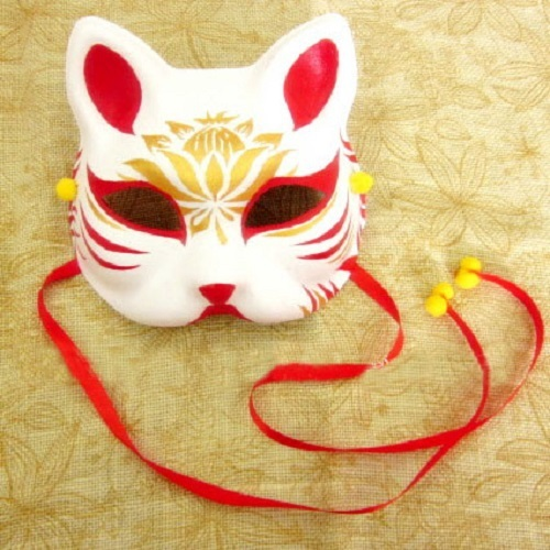 Kitsune Tattoos Origins Meanings Types Of Japanese: Half Face Hand Painted Japanese Fox Mask Kitsune Gold