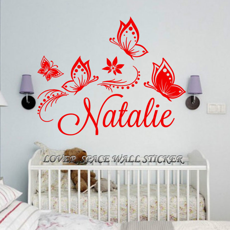 Personalized custom butterflies butterfly flower name vinyl decal sticker wall decoration jumbo wall sticker for kids rooms in wall stickers from home