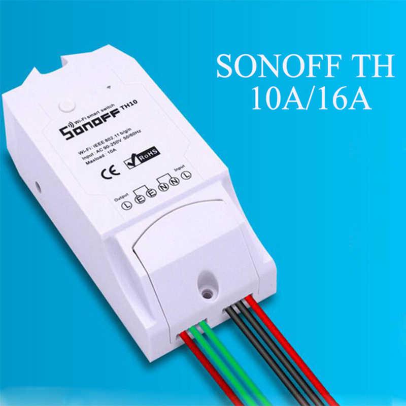 Sonoff TH 10A 16A مراقبة درجة الحرارة الرطوبة واي فاي مفتاح ذكي عن بعد أتمتة المنزل عدة ل أليكسا جوجل المنزل