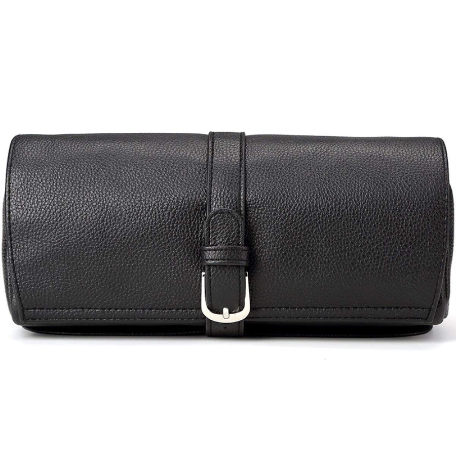 Leather PU Jewelry Roll Pouch Necklace Earrings Rings Display Travel Case Portable Jewelry Organizer For Travel