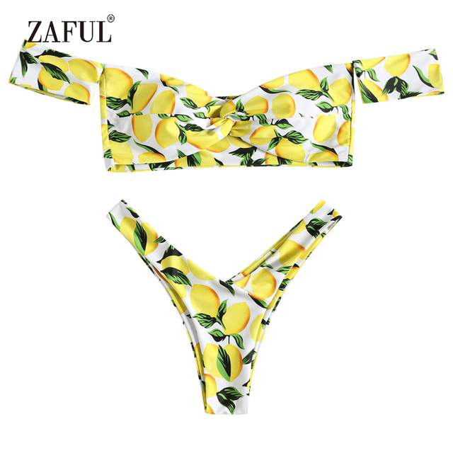 cfaeccaf29a ZAFUL Lemon Bikini Off Shoulder Swimwear Women Swimsuit Twist Bikini Top  and Bottoms Sexy Scoop Neck Thong Biquni Bathing Suit