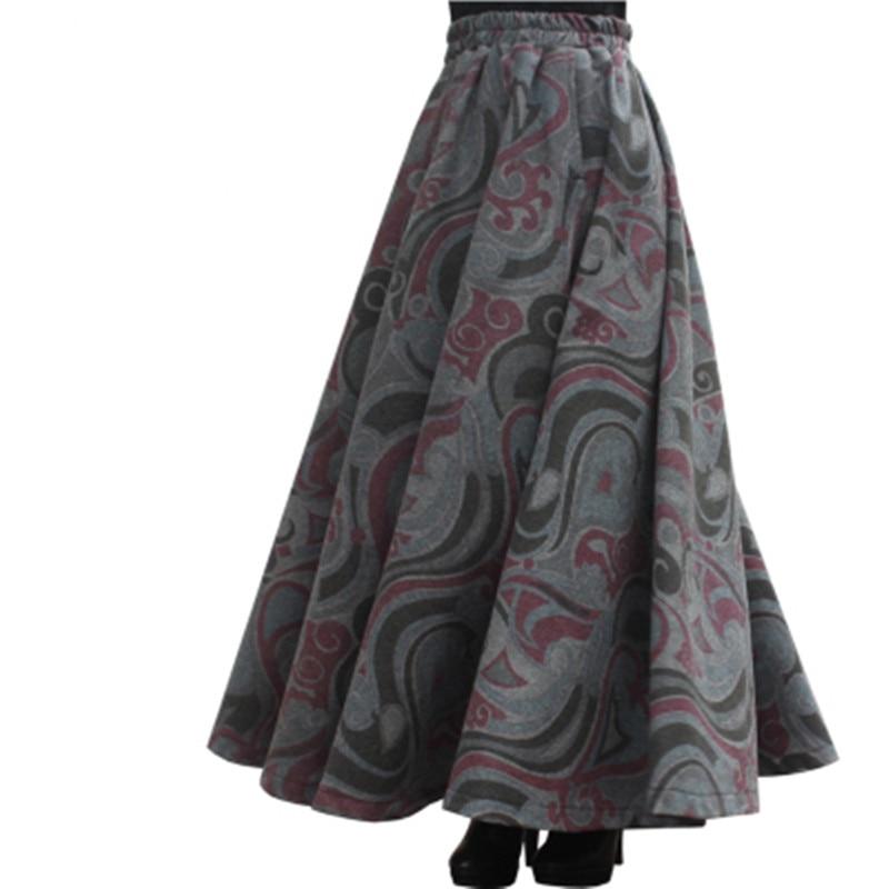 Envío Gratis nueva moda 2019 faldas largas Maxi Línea A para mujer cintura elástica invierno primavera estampado faldas de lana cálido personalizado-in Faldas from Ropa de mujer    1