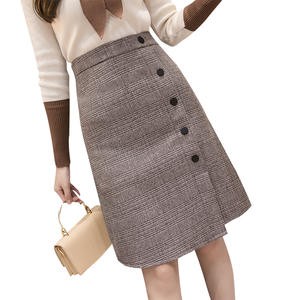 Slit Skirt Business-Buttons Plaid Midi Office Autumn Knee-Length High-Waist Winter Ladies