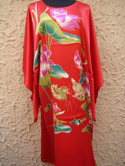 Red Chinese Style Womens Silk Rayon Robe Gown Home Casual Bath Gown Yukata Floral Nightgown Free Shipping One Size