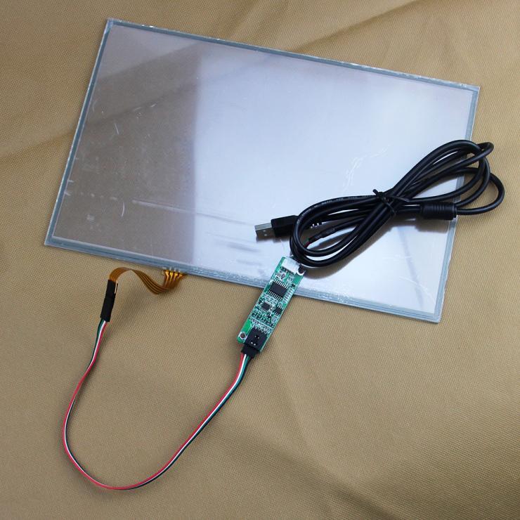 Panneau tactile résistif de 13.3 pouces 4 fils + carte contrôleur USB pour le contrôle d'affichage à cristaux liquides 16:9 de panneau d'affichage à cristaux liquides de 13.3 pouces dans des Machines d'affaires