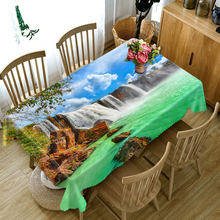 Pastoral 3d Round Tablecloth Waterfall Scenery Pattern Washable Dustproof Thicken Cotton Rectangular Table Cloth Home textile