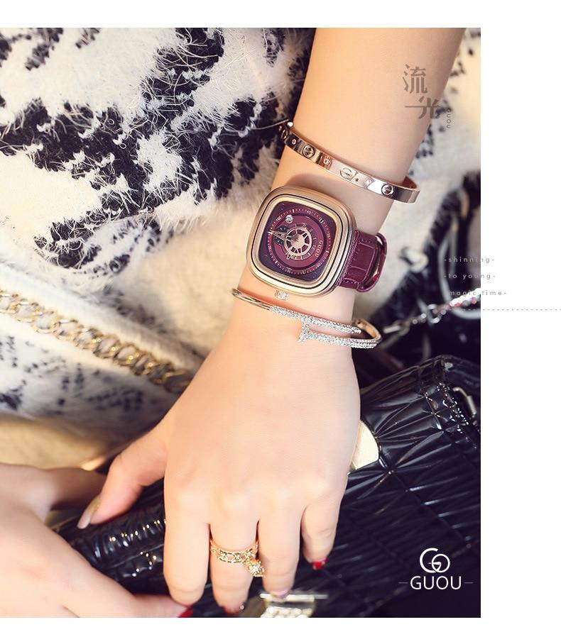 quadrado senhoras relógios de pulso relógio casual relojes para mujer