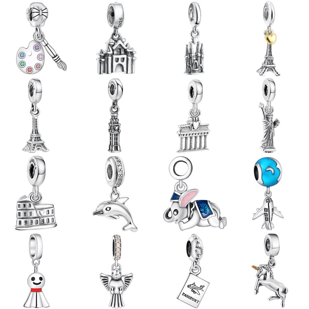 WYBEADS Fine 925 Sterling Silver Vacation & Travel Charms CZ Pendant European Bead Fit Bracelet Necklace DIY Accessories Jewelry