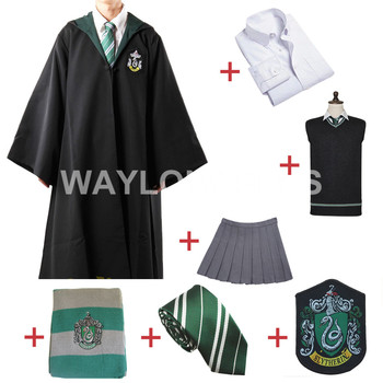 Livraison gratuite Slytherin Cosplay Robe cape pull pull chemise jupe cravate Badge écharpe pour Harri Potter Cosplay