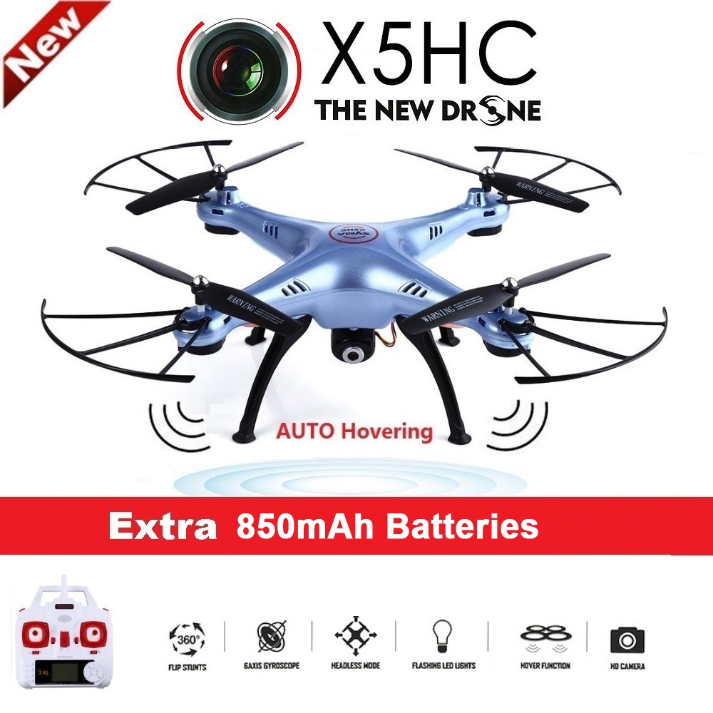 SYMA X5HC 4-CH 2.4GHz 6-Axis RC Quadcopter With 2MP HD Camera AUTO Hovering Headless Mode RC Drone SYMA X5SC Upgraded Version syma x5sw 4ch 2 4ghz 6 axis rc quadcopter with hd camera hovering headless mode rc drone 1200mah battery prop 4pcs motor 2pcs