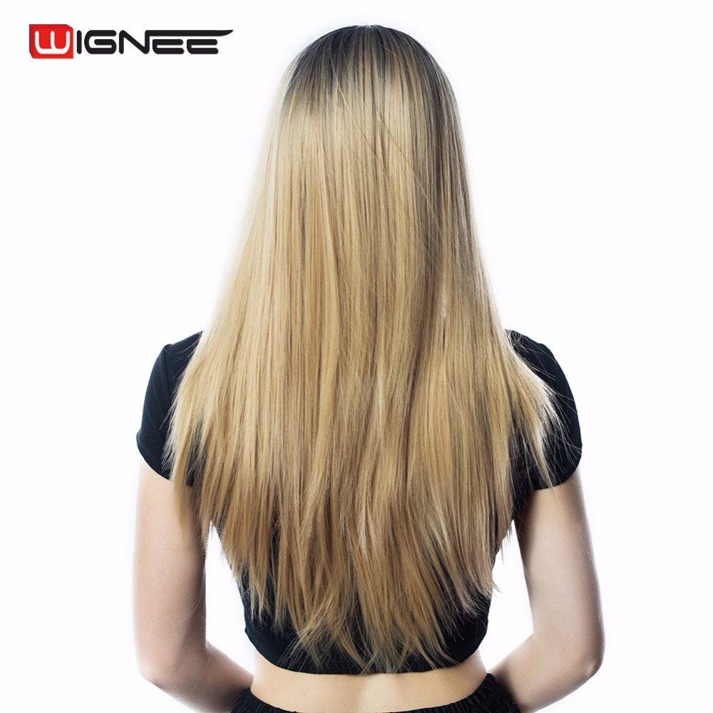 Wignee 24 Long Straight Hair Wig For Black/White Women High Temperature Synthetic Fiber 2 Tone Ombre Brown Glueless Cosplay