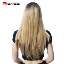 Wignee 24 Long Straight Hair Wig For Black/White Women High Temperature Synthetic Fiber 2 Tone Ombre Brown Glueless Cosplay Wig wignee 2 tone ombre brown ash blonde synthetic wig for women middle part short straight hair high temperature cosplay hair wigs