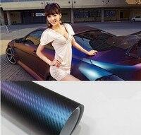 Wysokiej jakości 50x152 cm/dużo samochodów samochód ochrony chameleon carbon fiber film naklejki pcv Zielony zwrócił fioletowy