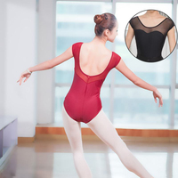 Adult Leotard Mesh Women Ballet Dance Wear Clothes Stretch Low Back Gymnastics Leotard Bodysuit