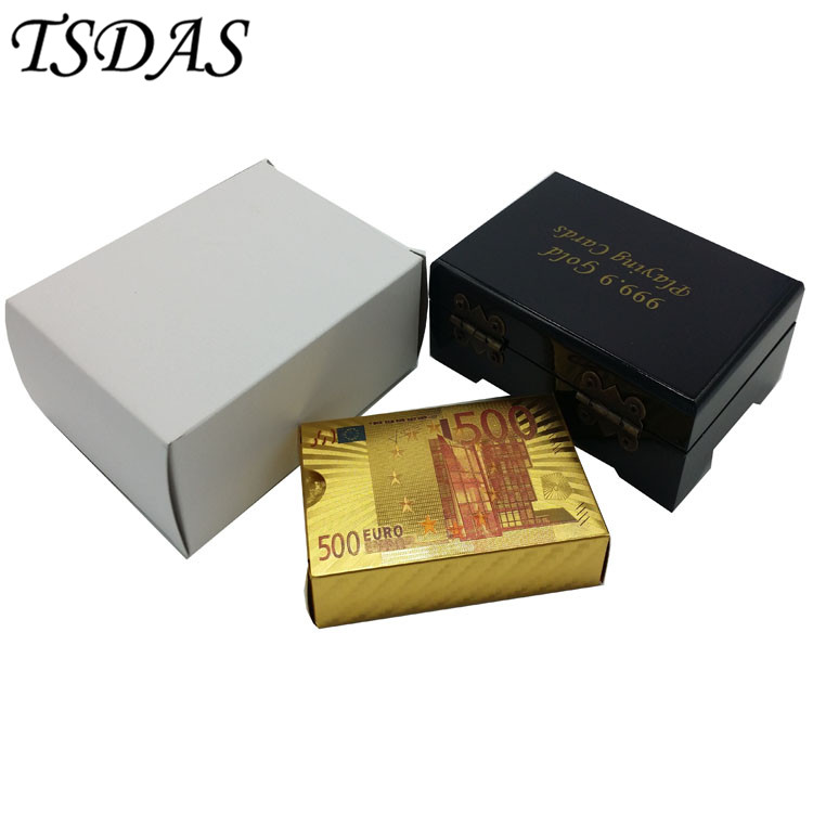 Gold Plated Playing Cards Colored 500 Euro Banknote Design Full Poker Card Deck With Wooden Box Games Gorgeous Gift