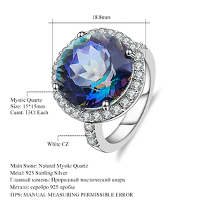 Image 5 - Gems Balle 13.0Ct Natural Blueish Mystic Quartz 925 sterling silver Cocktail Rings Fine Jewelry For Women Wedding Engagement