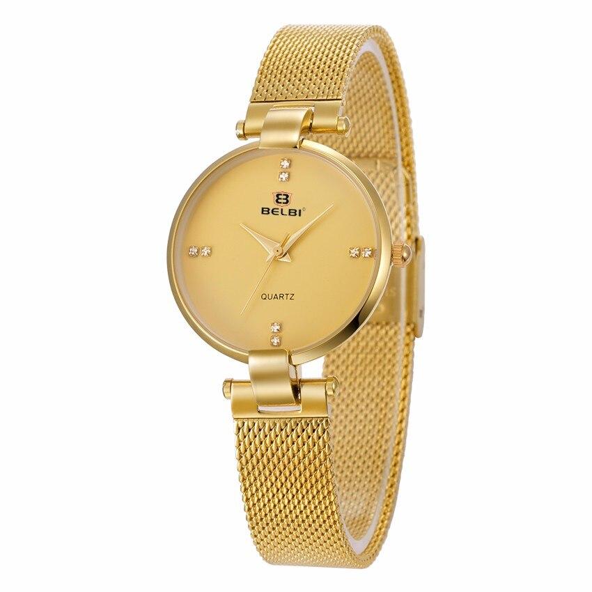 e0f09ae9cb6d 2016 belbi moda mujeres del cuarzo del reloj de señoras del acero malla  muñeca relojes del cuarzo-reloj elegante regalo Relojes
