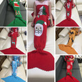 Christmas gift mermaid blanket and scarft sofa decoration winter warm Xmas Snowman reindeer Print Casual kintted tail sleeping
