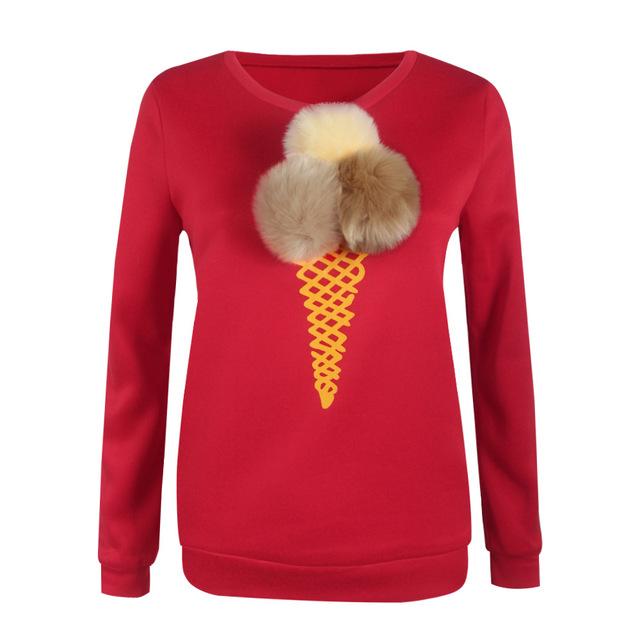 Long Sleeve Warm Pom Pom T Shirt / Sweater